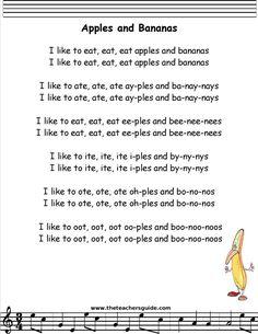 Apples and Bananas Lyrics Printout songs Inspiration Of Nursery songs List Camp Songs, Fun Songs, Songs To Sing, Kids Song Lyrics, Nursery Songs Lyrics, Baby Nursery Rhymes Songs, Rhymes Lyrics, Kindergarten Songs, Preschool Music