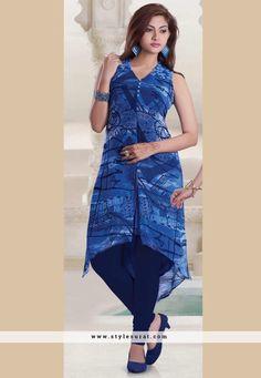 Georgette & Net Blue Achkan Style Kurti-60790