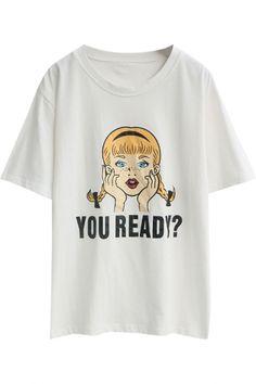 White Short Sleeve Ponytail Girl T-Shirt