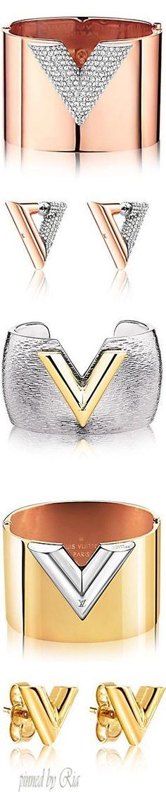 """Louis Vuitton Essential """"V"""" Colourama Gold Cuffs and Earrings l Ria"""