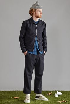 Mens designer clothes combining modern fits with old style construction. Universal work's passion is found in every characteristic piece Capsule Wardrobe Essentials, Universal Works, Men's Fashion, Grey Trousers, Shades Of Beige, Designer Clothes For Men, Work Shirts, Gray Jacket, Work Wear