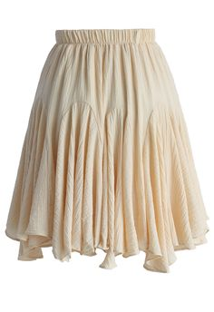 Frilling Skater Skirt in Beige - New Arrivals - Retro, Indie and Unique Fashion