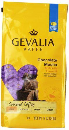 GEVALIA Chocolate Mocha, Mild, Ground Coffee, 12 Ounce, 6 Pack