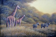 There are original African artists - and there is Geoffre Mugwe. In a class by himself, Mugwe has aligned himself with one particular gallery in Nairobi and Kenyan Artists, African Artists, Wildlife Art, Art Forms, Giraffe, Birds, Nairobi, Gallery, Artwork