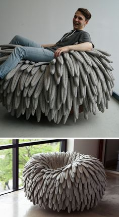 12 Comfy Chairs That Are Perfect For Relaxing In | Feathery fabric falls over the sides of this chair that features a rounded base, turning it into a cozy rocking chair and mimicking the look of a birds nest.