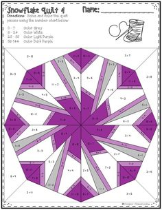 This set of printables includes 10 math quilts with a snowflake theme. These no prep color by code worksheets focus on multiplication facts up to 12 x They make great window displays when cut out! There is an option to change the color of each snowflak Paper Pieced Quilt Patterns, Barn Quilt Patterns, Pattern Blocks, Star Quilts, Quilt Blocks, Quilting Projects, Quilting Designs, Snowflake Quilt, Foundation Paper Piecing