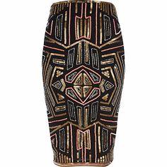 Steal the spotlight in this black geometric sequin pencil skirt #riverisland