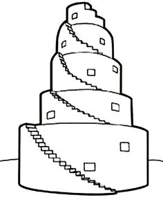 Tower of Babel in Book of Genesis Coloring Page