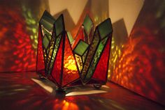 Stained Glass - Emerald Birth - Candle holder