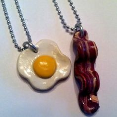 Egg and Bacon Pendants Best Friends Jewelry by GuiltfreeDecadence, $18.00