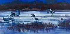 "Original Wildlife Landscape Painting With Birds ""Sunset Speaks to Sandhills"" by Colorado Western Landscape Painter Nancee Jean Busse"