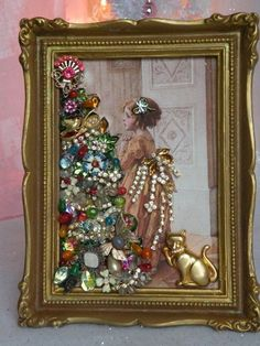 Framed VTG Jewelry XMAS Victorian Postcard XMAS Tree & Girl Fabric Block Frame