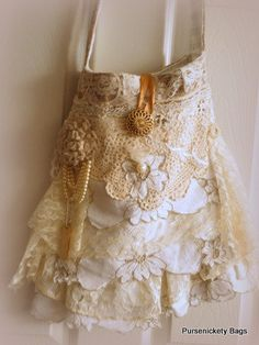 Gypsy Bag, large Shabby Chic bag, soft thick earthy cream and beige/cream ruffled lace, doily. $80.00, via Etsy.