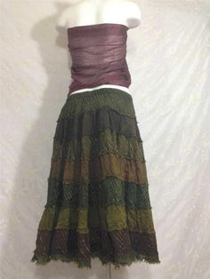 Forest Elf Cotton Ruffled Vintage Hippie Charm BoHo Gypsy Full Skirt Size Large