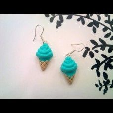 Ice Cream Earrings made by Fairypants in - Cream Earrings, Drop Earrings, Made In Uk, Jewelry Making, Ice Cream, Turquoise, Jewellery, Christmas Ornaments, Holiday Decor