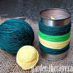 Yarn bombing and other trends for dressing up tin can projects (like these citronella CANdles)