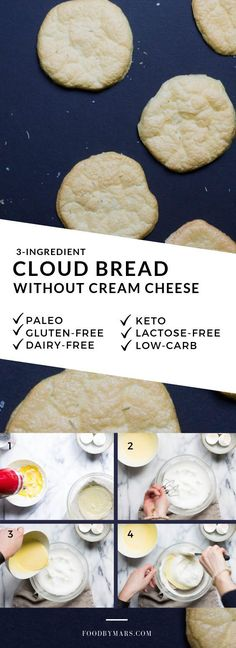 "Easy Cloud Bread without cream cheese (lactose-free, grain-free, Keto, low-carb) - This ""oopsie bread"" or ""cloud bread"" is perfect for dairy-free peeps! No cream cheese at al - Dairy Free Keto Recipes, Dairy Free Low Carb, Dairy Free Snacks, Lactose Free Diet, Sem Gluten Sem Lactose, Dairy Free Breakfasts, Almond Recipes, Low Carb Recipes, Bread Recipes"