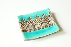 Turquoise Soap Dish Ceramic Soap Dish Lace Decor by bemika on Etsy