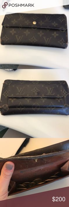 Authentic 3 fold Louis Vuitton monogrammed wallet Authentic Louis Vuitton tri fold wallet. Shows sign of wear on edges but otherwise good condition. Space for many cards, checks, cash and change. All snaps are in excellent working condition.  All offers considered!! Louis Vuitton Bags Wallets