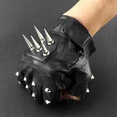 Mens Leather Spike Stud Punk Rocker Driving Motorcycle Biker Fingerless Gloves for sale online Mens Gloves, Leather Gloves, Leather Men, Leather Jackets, Spiked Leather Jacket, Studded Leather, Real Leather, Black Leather, Revival Clothing