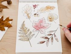 If you're looking for a more simple way to paint autumn leaves, try this easy autumn leaves project by Shayda Campbell. You just need to paint some areas of the paper using watercolor paints, then draw leaf outlines over the top with a black fineliner pen once the paint has dried. It's a simple technique, but very effective.