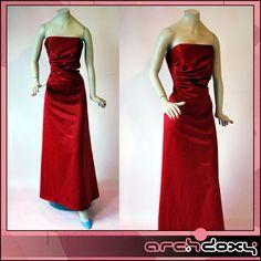 Vintage 1990s Jessica Rabbit Red Satin Cocktail Corset Prom Dress - Size 12UK