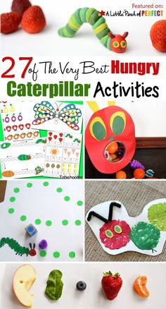 27 of The Very Best Hungry Caterpillar Activities for Kids: a helpful collection The Very Hungry Caterpillar Activities for Kids including crafts, activities, and free printables to go along with this beloved book by Eric Carle. Feed the caterpillar Very Hungry Caterpillar Printables, Caterpillar Art, Hungry Caterpillar Craft, Eric Carle, Chenille, Preschool Activities, Book Activities, Beloved Book, Free Printables