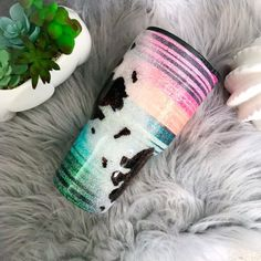 cow print and serape glitter tumbler- colorful stripped cup- mexican blanket pattern- ombre stripe- glitter cowhide- country- cowgirl - Cow print and serape glitter tumbler colorful stripped cup Glitter Cups, Glitter Paint, Glitter Glasses, Yellow Glitter, Diy Tumblers, Custom Tumblers, Glitter Tumblers, Mom Tumbler, Tumbler Cups