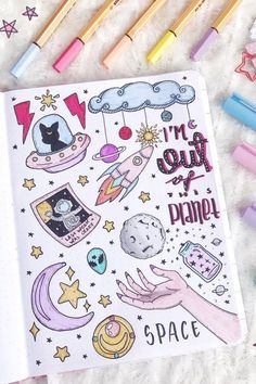 25 Bullet Journal Space Spreads That Are Out Of This World Love keeping the same theme throughout your entire bujo for the month? Check out the best bullet journal space spreads to make your pages look stellar! Bullet Journal Aesthetic, Bullet Journal Notebook, Bullet Journal Ideas Pages, Bullet Journal Spread, Bullet Journal Inspiration, Notebook Doodles, Doodle Art Journals, Space Drawings, Doodle Drawings