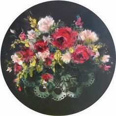 Heidi Shedlock   Pocket Full of Posies - flower art, circular oil painting with lace   available for sale   StateoftheART Posy Flower, Flower Art, Flowers, Round Canvas, Canvas Size, Art Lessons, Original Paintings, Fine Art, Painting Art