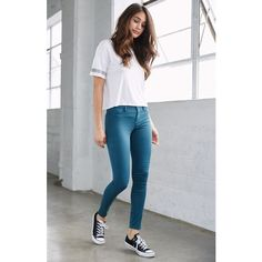 Bullhead Denim Co. Teal Dreamy Mid Rise Jeggings (205 BRL) ❤ liked on Polyvore featuring pants, leggings, cotton pants, zipper leggings, faux leggings, jeggings pants and zip pants