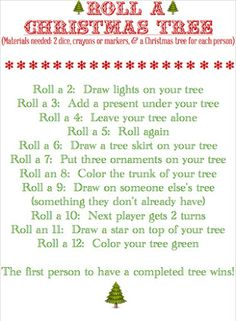 this sounds like a fun activity BLISSFUL ROOTS: Roll a Christmas Tree (Game )A fun thing to do for a family Christmas! Christmas Tree Game, Christmas Activities, Family Christmas, Christmas Traditions, Christmas And New Year, Winter Christmas, Christmas Crafts, Christmas Ideas, Merry Christmas