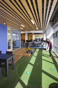 Office Putting Mini Golf Course // 10 Creative Office Space Design Ideas