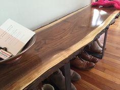 Entryway Bench Live Edge Slab Coffee Table Console Table Steel Legs Rustic Industrial Mid Century Modern Black Walnut by StocktonHeritage on Etsy https://www.etsy.com/listing/289964075/entryway-bench-live-edge-slab-coffee