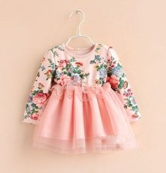 Girls vintage pink floral princess dress - Perfect for party, birthday girl, flower girl Baby Outfits, Baby Girl Party Dresses, Little Girl Dresses, Kids Outfits, Girls Dresses, Tutu Dresses, Baby Dress Design, Baby Girl Dress Patterns, Frock Design