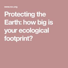 Protecting the Earth: how big is your ecological footprint?