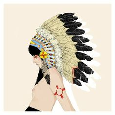 Feather Headdress Fashion Illustration