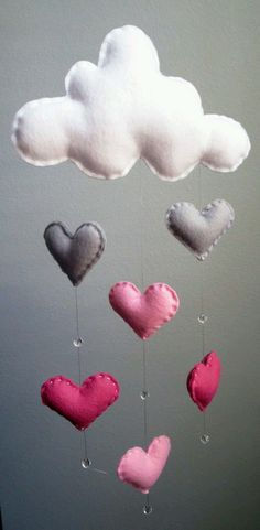 Shades of Pink Cloud Mobile with Heart Raindrops and Crystal Glass Beads - Handmade - Made To Order - Nursery Decor - Choose your colors on Etsy Cloud Mobile, Baby Mobile, Felt Crafts, Diy And Crafts, Arts And Crafts, Deco Kids, Pink Clouds, Baby Nursery Decor, Nursery Room