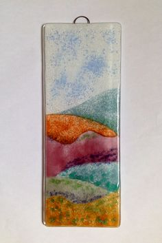 Fiery hills fused glass panel by Fired Creations