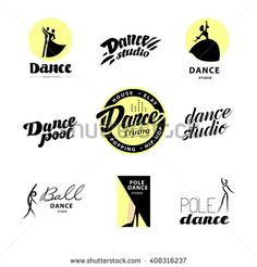 Vector flat dance studio logo. Dance icon. Dancing icon. Human icon. Stamp. Human figure. Dancing lady. Ballet. Pole dance. Ball room dance. Dance school insignia. Modern street dance. - stock vector