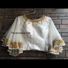 Hand work blouse by parampara fab. New Saree Blouse Designs, Choli Blouse Design, Fancy Blouse Designs, Bridal Blouse Designs, Churidar, Anarkali, Lehenga, Sleeves Designs For Dresses, Stylish Blouse Design