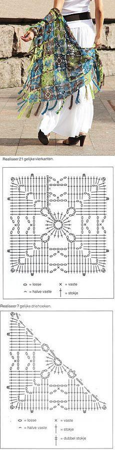 Discover thousands of images about Crochet Squares Crochet Bolero, Poncho Au Crochet, Bonnet Crochet, Crochet Shawls And Wraps, Crochet Chart, Crochet Afghans, Crochet Granny, Crochet Motif, Crochet Stitches