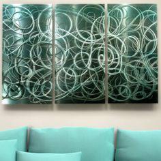 Modern Abstract Teal Metal Wall Art Home Decor Rapture in Motion Jon Allen   eBay