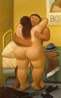 by Fernando Botero (born Colombian Figurative painter, showed comedy in painting portrayals. Frida Diego, Plus Size Art, Fat Art, Erotic Art, Oeuvre D'art, Canvas Art Prints, Hugs, Art Girl, Art History