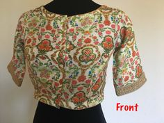 Readymade saree blouse in floral print with princess cut