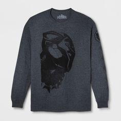 Men s Marvel Black Panther Long Sleeve T-Shirt - Black Ember Heather XL Black  Panther 0a936131aae2