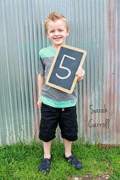 5 year old boy poses - 5th birthday