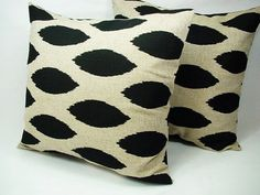 Two Sofa Pillow Covers Black and Cream Ikat - 20 x 20 inches Throw Pillow Cushion Cover Accent Pillow