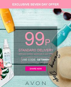 Enjoy 99p standard delivery when you spend £20 or more! Use code: GETAWAY at checkout. Ends midnight Thursday 31st May www.avon.uk.com/store/Agnes Avon Online Shop, Bank Holiday, Shop Now, Coding, Delivery, Thursday, Store, Image, Larger