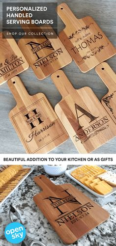 Our Personalized Handled Serving Boards are a fantastic price today. It's the perfect opportunity to order one for everyone you know. Choose from 6 beautiful designs which each adds a unique touch of elegance to your home, or to someone you love. This will look beautiful in your home whether on display or while in use. The serving boards each have a hole drilled through the end of the handle perfect for hanging in any location! They are also perfect gifts any time of the year.